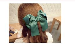 Wholesale Ladies Accessories Holders Wholesale - New Hair accessories Satin Ribbon Bow Hair Clips Barrette Ponytail Holder Hairgrips For Kids Lady 7 Colors