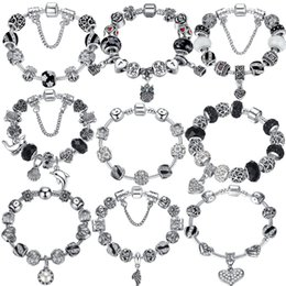 Wholesale Black Murano Glass Beads - BELAWANG Silver Crystal Charm Bracelet 925 for Women Silver Snake Chain & Murano Glass Black Beads Bracelet Authentic Jewelry 18-20cm