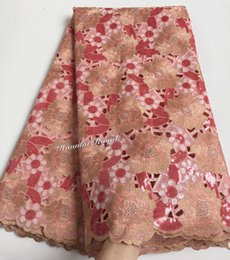 Wholesale Organza Lace Fabric Handcut - Peach Gold African handcut organza lace fabric with allover 2 tunes sequins 5 yards PC
