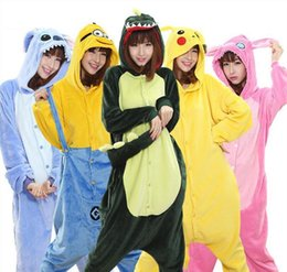 Wholesale Unisex Pikachu Onesie - wholesale animal stitch unicorn panda bear koala pikachu onesie adult unisex coaplay costume pajamas sleepwear for men women