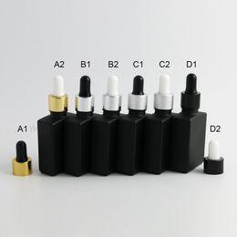 12 x 30ml Bottiglie vuote di vetro piatto quadrato nero gelo con contagocce in alluminio 1 oz contenitore di vetro contagocce da perline all'ingrosso smerigliate fornitori