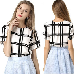 Wholesale Dropship Factory - Factory Price Summer Women O-Neck Chiffon Blouse Shirt Plus Size Fashion Black And White Plaid Short Sleeve blusas feminina Free Dropship