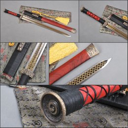 Wholesale Ancient Sword - Chinese Ancient Red Cliff SwordSword Fully Handmade Sword Folded Steel Blade Staight Sword Traditional Technique