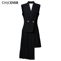 Wholesale hooded vests for women - CHICEVER Female Vest Coat Skin Waistcoat for Women Cardigan Jacket Sleeveless Long Vests Backless Pleated Patchwork Clothes New