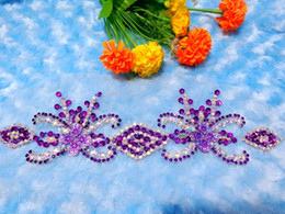 Wholesale Sew Rhinestones Patches - Handmade crystal patches purple  clear AB colour sew on Rhinestones applique with stones sequins beads 32*9cm for top dress