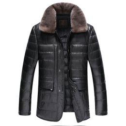 Wholesale 4xl Sheepskin Jacket - Fall-Leather suede sheepskin coat men genuine leather down coat turn down collar jacket top quality New Phoenix