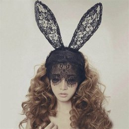 Wholesale Valentines Hair Accessories - Lace Rabbit Bunny Ears Veil Black Eye Mask Valentine Halloween Party Headwear Hair Accessories Fashion Women Girl Hair Bands Black Red White