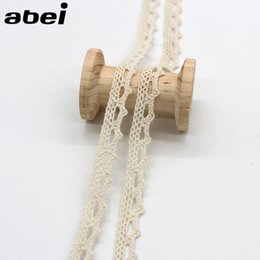 Wholesale Material Curtains - 20yards 1cm Beige Lace Ribbon Cotton Fabric Material DIY Sewing Craft Handmade Patchwork Hometexile Curtain Embellishment