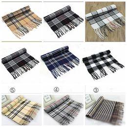Wholesale Ring Lattice - Unisex Plaid Scarves Grid Tassel Wrap Oversized Check Shawl Tartan Cashmere Scarf Winter Neckerchief Lattice Blankets Fashion