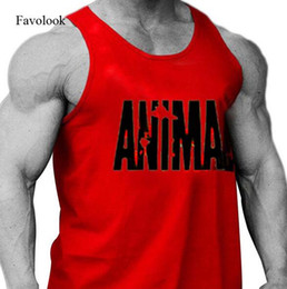 Wholesale Black Sequin Tank Top - Favolook 2017 Gym Clothing Men Bodybuilding Gym Tank Top ANIMAL Word Pattern Men Fitness Sleeveless Shirts Sports Muscle Tops