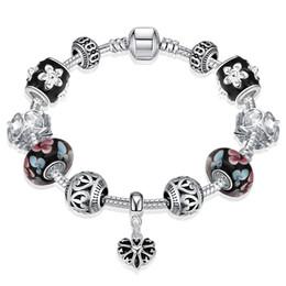 Wholesale Carved Flower Pendant Bead - New arrival DIY Silver Plated Heart Pendant Bracelet Flower Carving Glass Bead Charms Bracelet European Style Handmade Jewelry For Women