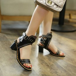 Wholesale Square Buttons Sewing - Punk Women's Summer Sandals New Design Fashion Hollow Metal Decoration Rome Sandals Peep Toe Square Heels Female Pumps Shoes