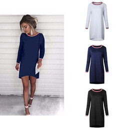 Wholesale Womens Cap Sleeve Tops - Autumn New Sexy Womens Ladies Long Sleeve Stried Casual Loose Mini Party Top Dress 3 Colour 4 Size