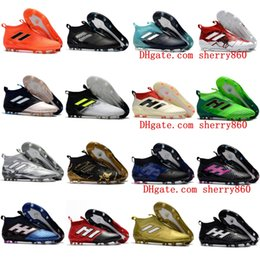 Wholesale Lace Ups Ankle Boots - ACE 17+ Purecontrol FG Football Soccer Boots No Lace Mens Soccer Cleats High Ankle Top Soccer Shoes New Botas de Futbol 2017 Chuteira