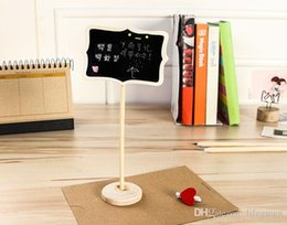 Wholesale Chalkboard Place Holder - Wholesale-Wood Easel Chalkboard Place Card Holder Wedding Favor Blackboards, White, 12x8.5x1cm; Blackboard: 8.6x5.8cm
