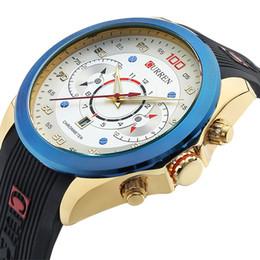 Wholesale Curren White - New Relogio Masculino CURREN 8166 Golden Watches men Luxury Brand Waterproof Sport Military Army Dress quartz Wristwatches wholesale