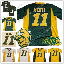 Wholesale Black White Womens - NCAA NDSU Bison #11 Carson Wentz Mens Youth Womens Kids Yellow Gold Green White Stitched North Dakota State College Football Jerseys S-3XL