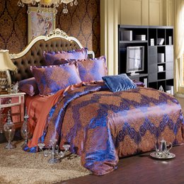 Wholesale Satin Sheet Set Free Shipping - Cassandra Free shipping Hot 4pcs bed sheet home textile bedding set satin jacquard bedding bed linen quilt bedclothes MLZY