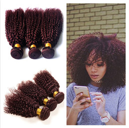 Wholesale Red Hair Wefts - Kinky Curly Peruvian Human Hair Burgundy Hair Wefts Extensions 99J Wine Red Peruvian Human Hair Weave Bundles Kinky Curly 3Pcs Lot