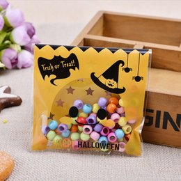 Wholesale Halloween Candy Cookies - Wholesale- 100 Pcs DIY Candy Cookies Birthday Party Craft Bags Packaging Bags Halloween Yellow pumpkin Gifts Bags Plastic Clear
