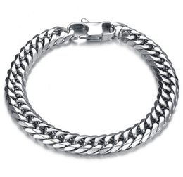 Wholesale 14mm Stainless Steel Curb Chain - Free Shipping 10MM 14MM Curb Cuban Stainless Steel Bracelet Mens Chain Clasp Link Bracelets Silver Tone Jewelry Gift for man