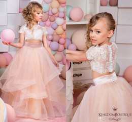 Wholesale Children Weddings - 2017 Pink Two Pieces Lace Ball Gown Flower Girl Dresses Short Sleeve Vintage Child Pageant Dresses Beautiful Flower Girl Wedding Dresses