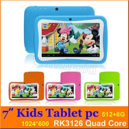 Wholesale Best Cameras China - Kids Education Tablet PC 7 inch RK3126 Quad core Android 5.1 Kitkat 512MB 8GB Kids Games & Apps mini tablet Best gift Free shipping colorful