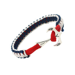 Wholesale Umbrella Rope - New Fashion Anchor Bracelets Handmade Umbrella rope Charm bracelets Navy Wind Woven Bangles For Men Women Wrist Jewelry 4 Color Options