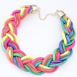Wholesale Short Color Neon - Hot Sale Women Fashion Neon Color Short Necklace It Girls Party Jewlry USA Women Woven Strings Necklaces Length 48CM