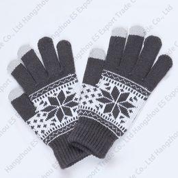 2019 снежинка экран Зимние перчатки с сенсорным экраном Снежинка вязаные пять пальцев перчатки унисекс стиль 5 цветов мягкие и теплые дешево снежинка экран
