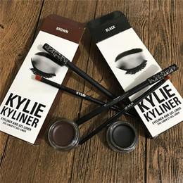 Wholesale Shimmer Eye Shadow Pencil - Kyline Kit kylie Eyeliner Set Eyeliner Pencil Eye Shadow Brush three piece Set kyli Kyliner Kit kyli Cosmetics Kyliner Kit