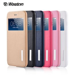 Wholesale Slimmest Iphone Folio Case - Ultra slim thin leather folio magnetic flip case cover stander supported window view phone cover for iPhone 6 6s plus
