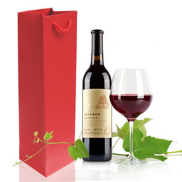 Wholesale Wood Wine Glasses - Colordul Rectangle Portable Bag High Fastness Glass Grape Leaf Bottle Pouches For Party Favors Red Wine Bags 1 32pz B R