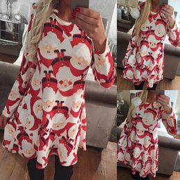 Wholesale Womens Christmas Costumes - Womens Ladies Santa Christmas Xmas Printed Girls Party Jumper Flared Tops Cosplasy Costumes Fancy Dresses Skater Swing Dresses
