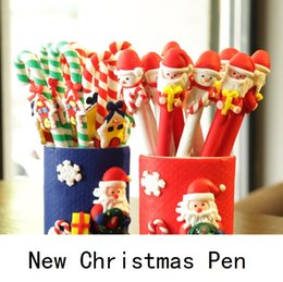 Wholesale Christmas Ball Pens - New Christmas polymer clay Stick pen Christmas items children gifts advertisement pen ball-point pen promotional pens gifts B0756