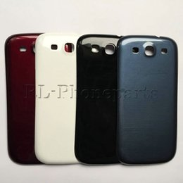 Wholesale Galaxy S3 Blue Cover - 50pcs lot white black blue Battery Door Case Back Cover Housing Plastic For Samsung Galaxy S3 I9300 I9305 With Logo