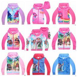 Wholesale Zipper Hoodie Sweaters Wholesale - Moana Hoodies Kids Trolls Cartoon Coats Vaiana Autumn Sweatshirts Girls Long Sleeve Outwear Zipper Jackets Cardigan Sweater Clothes B2847