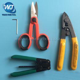 Wholesale Fiber Stripping Tool - Wholesale- 4 PCS FTTH Splice fiber optic tool kits Fiber Optic Tool Pixian Fibre stripping + optical fiber+ RUBICON RCZ-527 Kevlar scissors
