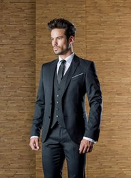 Wholesale Cheap Groomsmen Black Suits - Handsome Black Wedding Mens Suits Slim Fit Bridegroom Tuxedos For Men Three Pieces Groomsmen Suit Cheap Formal Suit(Jacket+Pants+Vest)