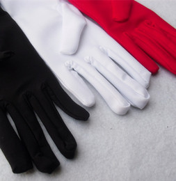 Wholesale White Dancing Gloves - Wholesale-Kid child boy flower girl white red black short spandex student gymnastic glove costume dancing glove free shipping wholesale