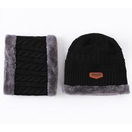 Wholesale Fur Scarves For Men - Neck warmer winter hat knit cap scarf Hats For men knitted hat men Beanie Knit Hat Skullies Beanies Fur Warm Baggy Wool Knitted