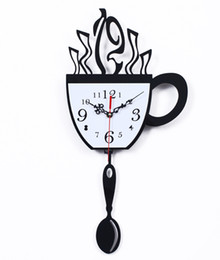 Wholesale Coffee Wall Clock - Wholesale-Free shipping coffee cup wall clock time personalized creative fashion watches sway bar restaurant kitchen living room decoratio
