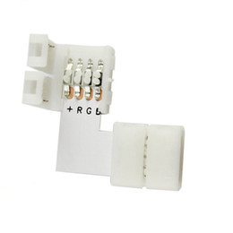 Wholesale Rgb Led Splitter - 5pcs lot L shape 4 Pins Connector 10mm for 5050 3528 RGB 4 conductor Quick Splitter Right Angle Corner Connector LED Strip light