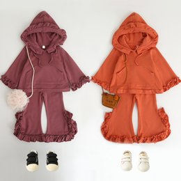 Wholesale Girls Fleece Pants - Baby Girls Sets Autumn 2017 Kids Girls Hooded Fleece with Ruffles Pants Children Fashion Casual Outfits Baby clothing