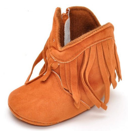 Wholesale Infant Boys Winter Boots - Baby First Walkers girl boy faux suede boots toddler fringe tassel winter warm boots shoes mid-calf 0-12M 6colors infant Christmas gift