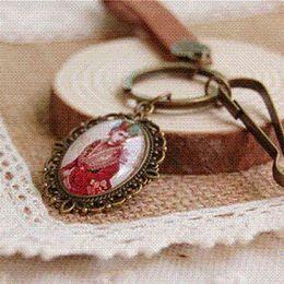 Wholesale Cheap Showcases - 6pcs lot Victoria Royal Key Rings Beauty Bird Showcase Leather Key Chains Vintage Jewelry K007 Key Chains Cheap Key Chains