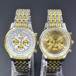 Wholesale Black Metal Strap Watches - Fashion Casual ROSRA men's boy's 3 dials style silver gold steel metal strap Bracelet Wrist Watch 8530