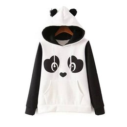 Wholesale Black Women Casual Wear - Hoodies for women New Fashion hoodie cute panda hooded hoodie black and white hoodie active wear