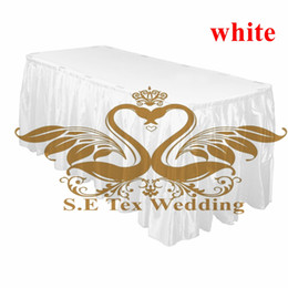 Wholesale Satin Table Cloths White - 5pcs Satin Table Skirt Wedding Table Cloth Skirting Free Shipping - White