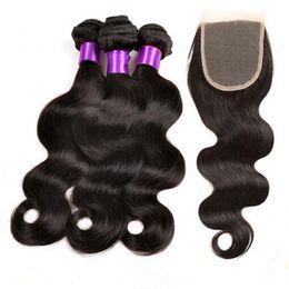 Wholesale virgin indian pcs - 9A Brazilian Body Wave Hair Bundles With Lace Closure Peruvian Indian Malaysian Virgin Hair 3 pcs Body Wave with 1 pc Lace Closure